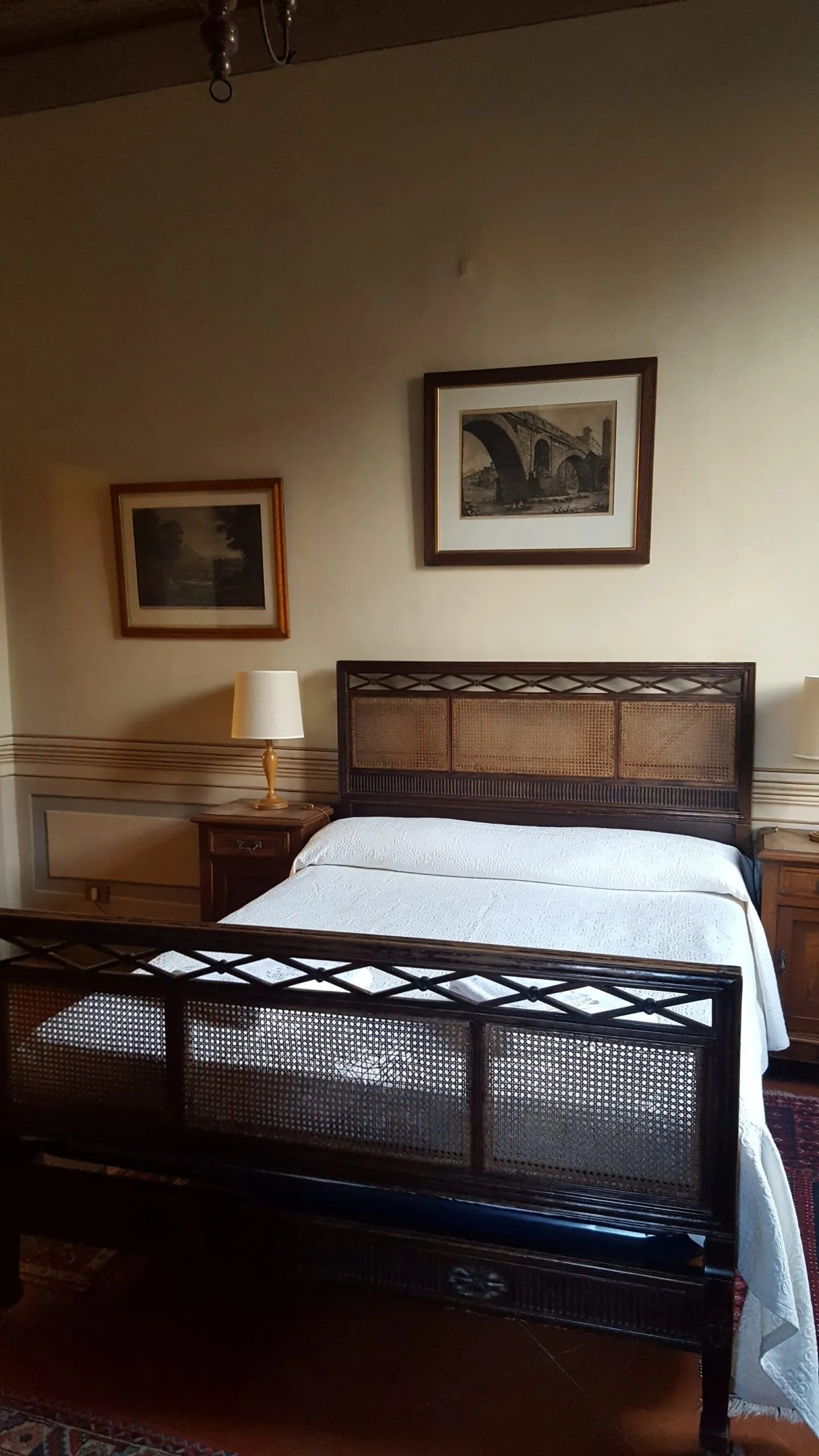 Keats Shelley house bedroom interior with wicker work bed
