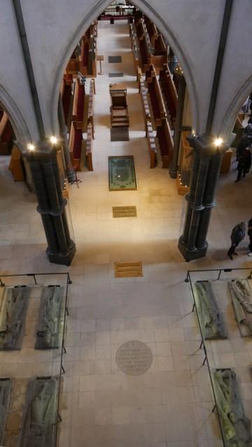 Temple Church London looking down on knight effigies