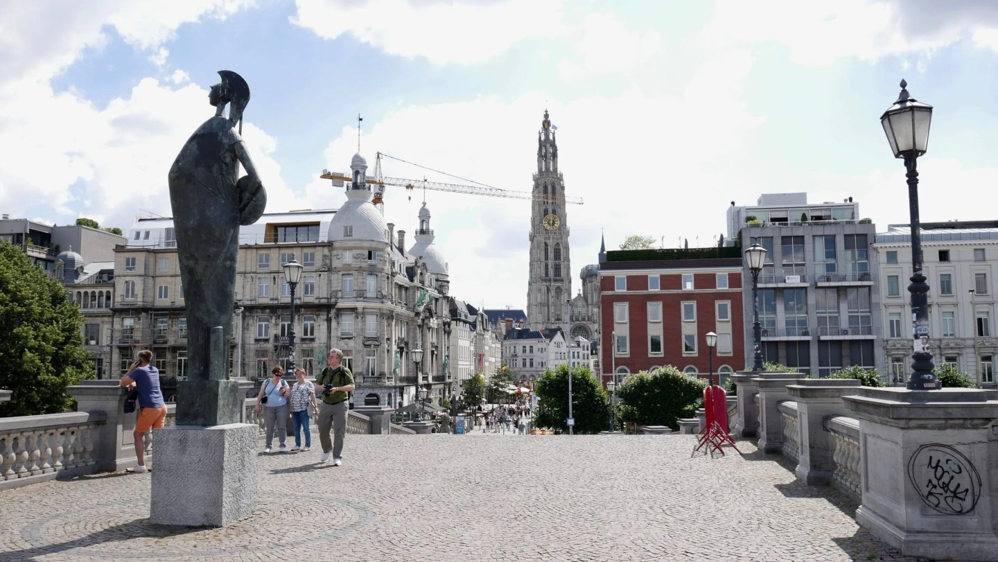 Antwerp from waterfront looking at Cathedral