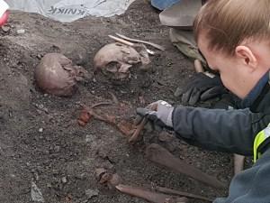 Arkeologisk utgravning av Klemenskirken i Trondheim. Foto: Siri Wolland
