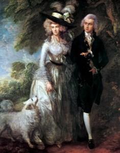Storbritannia og Nord-Irland. Det litt oppstilte, men samtidig elegante og lett vemodsfylte portrettmaleri fikk på 1700-tallet en betydelig representant i Thomas Gainsborough (1727–88). Han innførte landskapet som stemningsskapende element i sitt maleri. Bildet viser The Morning Walk (Morgenturen), 1785. Oljemaleri, 236 x 179 cm. National Gallery, London.