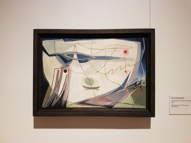 "Anna-Eva Bergmann, ""Composition Finnmark Impression"", 1951. Foto fra utstillingen: Siri Wolland."