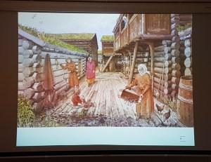 Oslo ca 1300. Illustrasjon Karl-Fredrik Keller. Foto fra foredrag: Siri Wolland