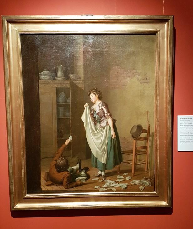 Pehr Hillestrøm (Svensk, 1732-1816), En gåsse och en flicka som igjenom ras, sønderslagit porslin. Foto fra utstillingen: Siri Wolland.