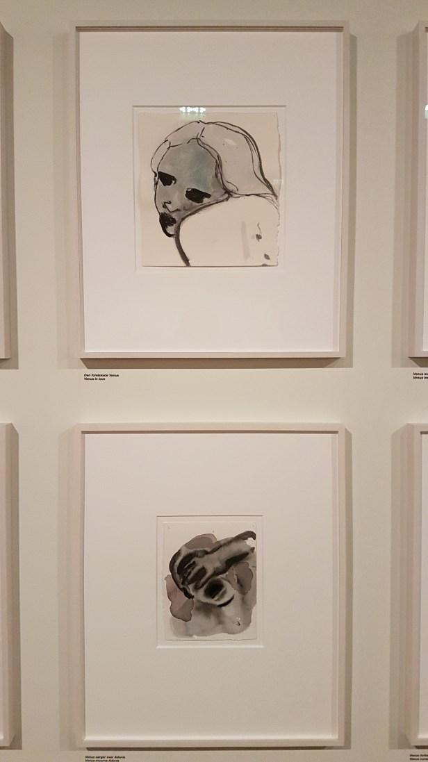 Marlene Dumas, Den forelskede Venus og Venus sørger over Adonis. Foto fra utstillingen: Siri Wolland.