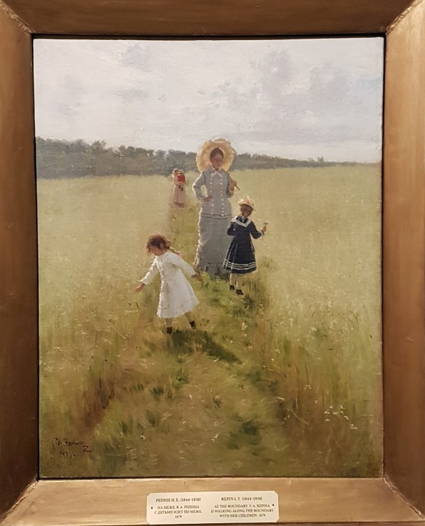 Nja Repin, Repina og barna går på åkerskille, 1879. Foto fra utstillingen; Siri Wolland.