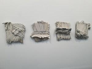 """Marianne Moe, """"Veggtavler Horva 1-4"""", 2018. Foto fra utstillingen Siri Wolland."""