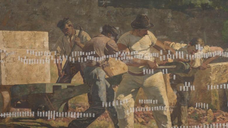 Detalle de Los Canteros de Pedro Lira, expuesto en el MNBA de Santigo de Chile.