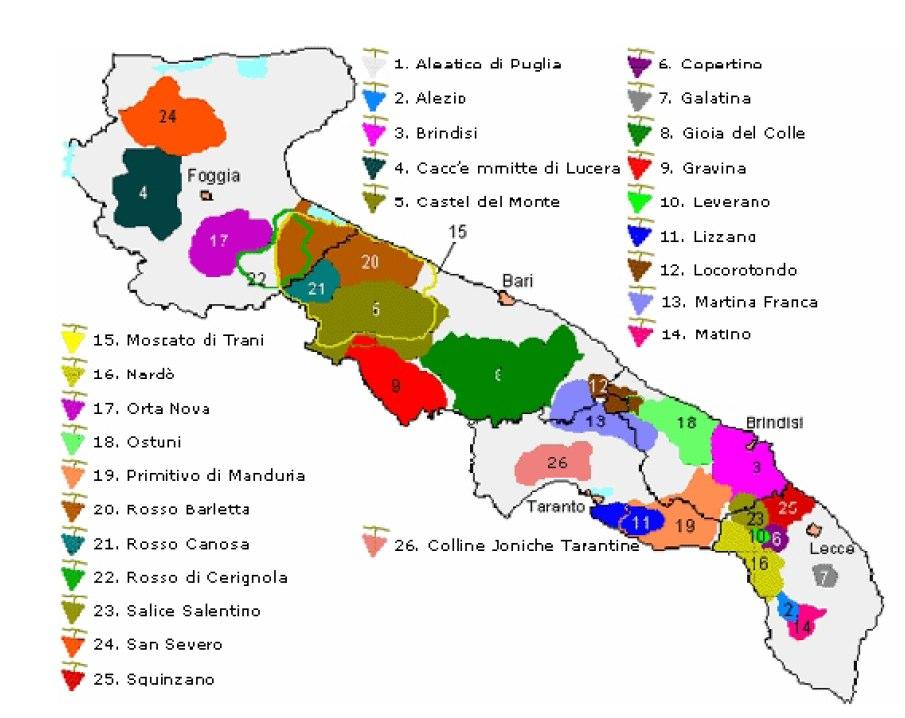 Aree di produzione dei vini di Puglia