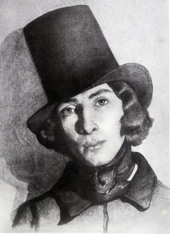 George Sand en costume masculin. Dessin du 19me sicle.