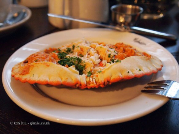 Picked crab in shell at Malmaison in Aberdeen