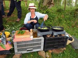 Cooking garlic at Riverord Organics