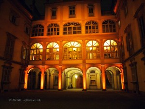 Renaissance building at night, Florence, Italy