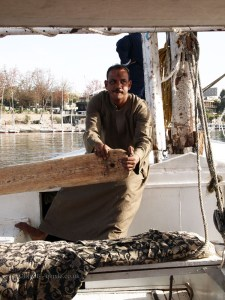Man rowing, Felucca ride on the Nile
