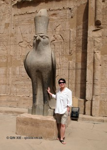 Qin Xie with Horus statue, Temple of Horus, Edfu