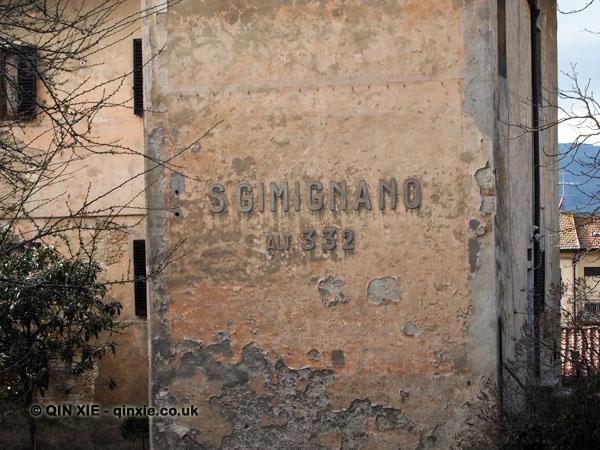 Town sign, San Gimignano, Italy