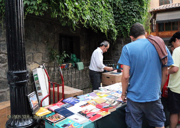 Second hand book stall, Santiago, Chile