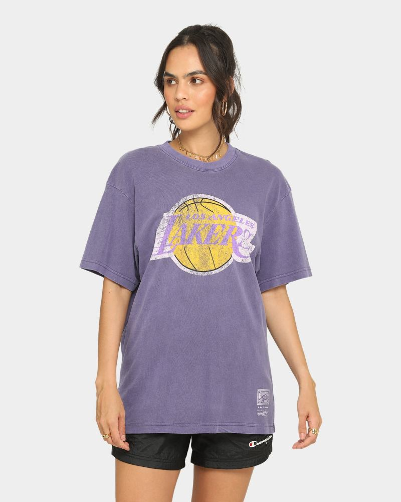 Purple Los Angeles Lakers T Shirt : Mitchell Ness Los Angeles Lakers Oversized Tm Clr Logo Vintage T Shi Culture Kings