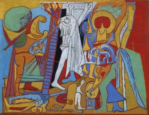 Pablo Picasso, «La Crucifixion», 7 février 1930 Paris. Contreplaqué, huile sur bois Paris, musée national Picasso-Paris. Photo © RMN-Grand Palais (musée national Picasso-Paris) / Mathieu Rabeau © Succession Picasso - Gestion droits d'auteur Fichier RMN : 16-524559
