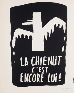 La chienlit c'est encore lui ! Affiche sérigraphiée de l'Atelier Populaire, Coll. des Beaux-Arts de Paris