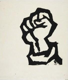 Poing levé. Affiche sérigraphiée de l'AtelierPopulaire, Coll. des Beaux-Arts de Paris