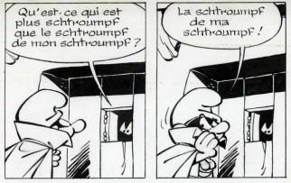 """Planche 18 du """"Schtroumpfissime"""" de Peyo paru en 1965 / Exposition Peyo au Centre Wallonie-Bruxelles à Paris en 2018"""