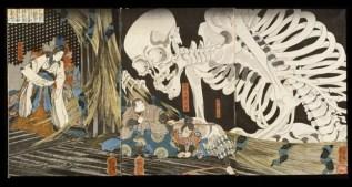 Estampe japonaise représentant la Princesse Takiyasha et le spectre squelette, dans l'exposition Enfers et fantômes d'Asie au musée du quai Branly - Victoria & Albert Museum, London