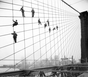 men on brooklyn bridge
