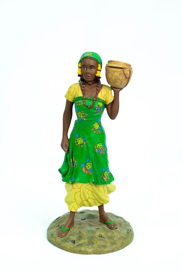 African figurine, Peul woman in green dress holding basket, front