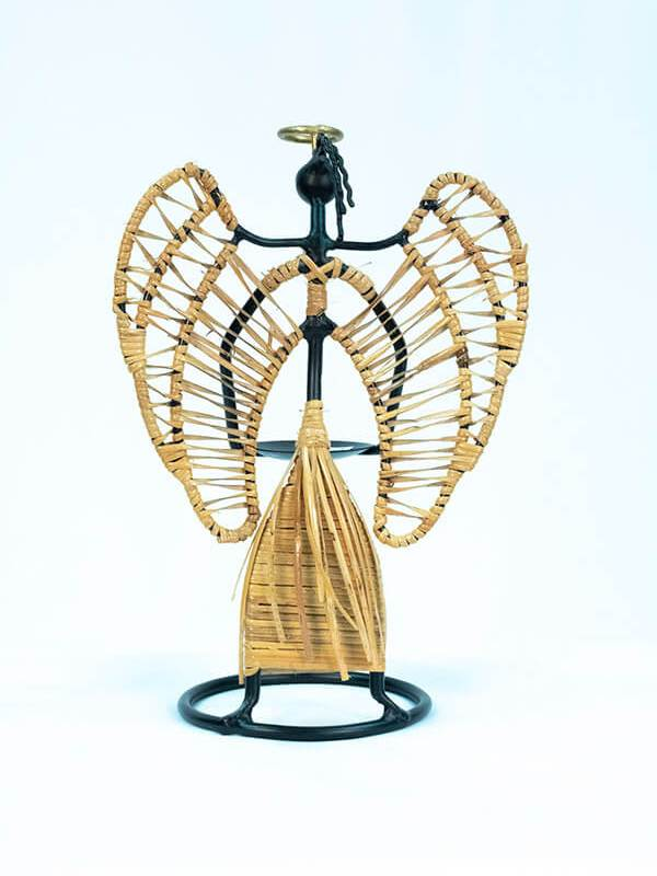 angel wicker art candleholder, back