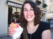 Enjoying a delicious macaron in Amboise, France