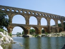 At the Pont du Gard, an aqueduct built by the Romans in southern France
