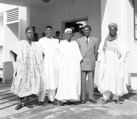 Obafemi Awolowo, Nnamdi Azikiwe, Tafawa Balewa, Dr Endeley and Saradauna of Sokoto in 1957