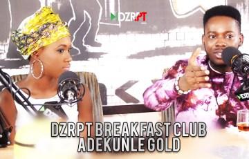Adekunle Gold flanked by Ireti of DZRPT TV on the Breakfast Club