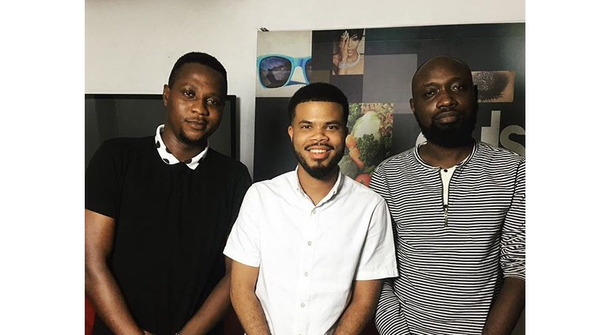Steve Dede, Asa Asika and Ayomide Tayo at Pulse NG offices following the recording of an episode of Loose Talk Podcast.