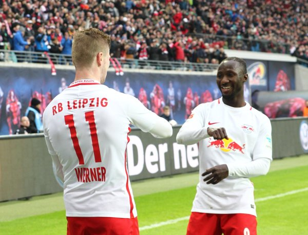 Timo Werner and Naby Keita celebrating a goal with a dance.