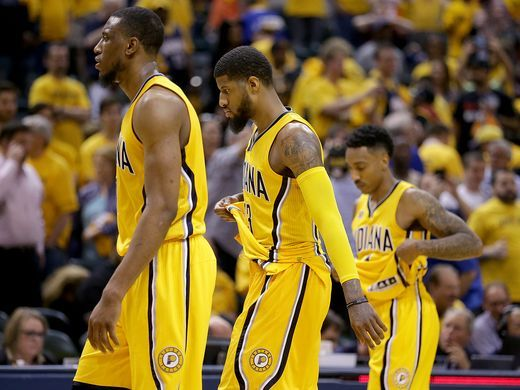 Dejected Pacers After loss against Cleveland