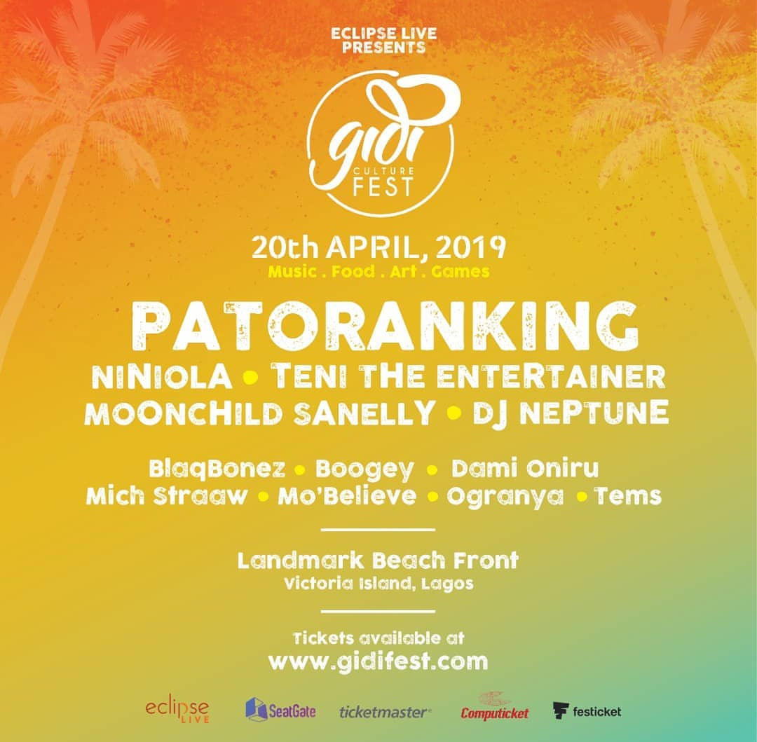 Gidi Fest Enlists Niniola, Patoranking & Teni as It's 2019 Headliners.