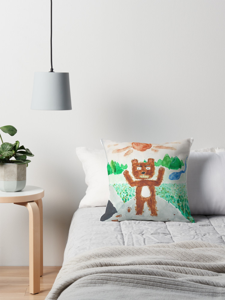 Angry Bear Awoken Mid-Slumber Watercolour Throw Pillow