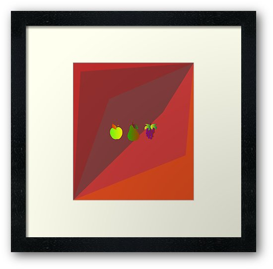 Apple Pear Grapes Small Framed Print