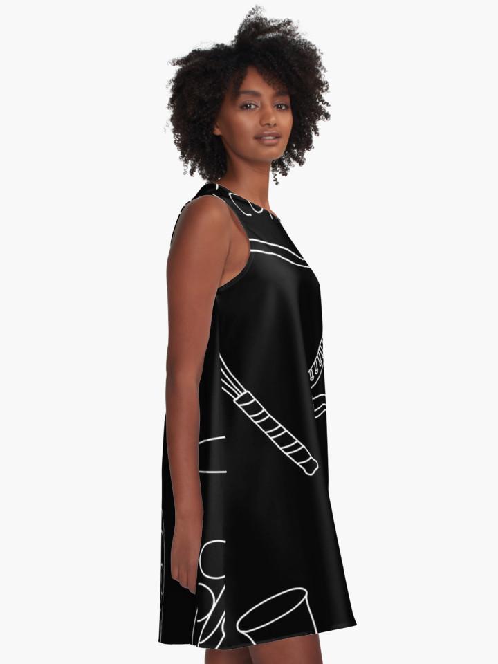 Culturedarm Black and White Lines A-Line Dress