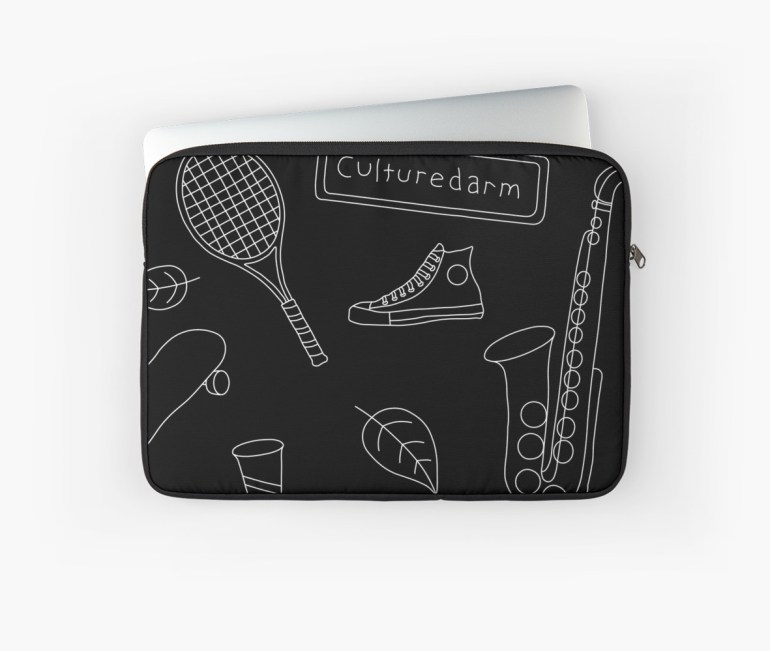 Culturedarm Black and White Lines Laptop Sleeve