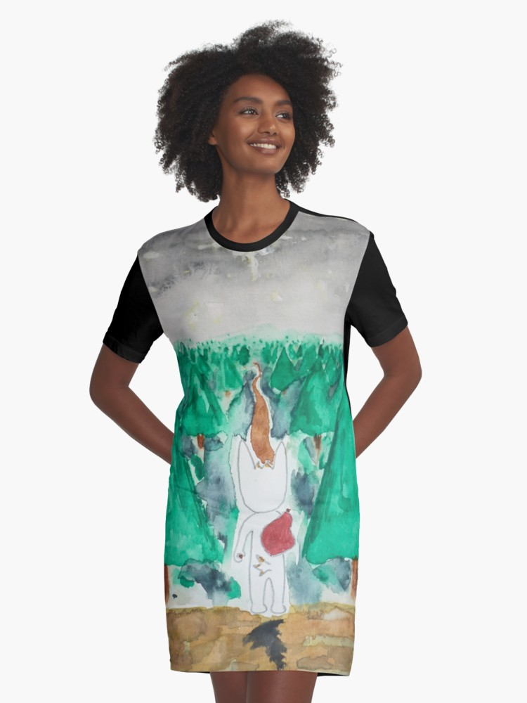 George the Rabbit Watercolour Graphic T-Shirt Dress