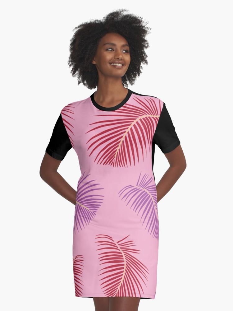 Culturedarm Pink Fronds Graphic T-Shirt Dress