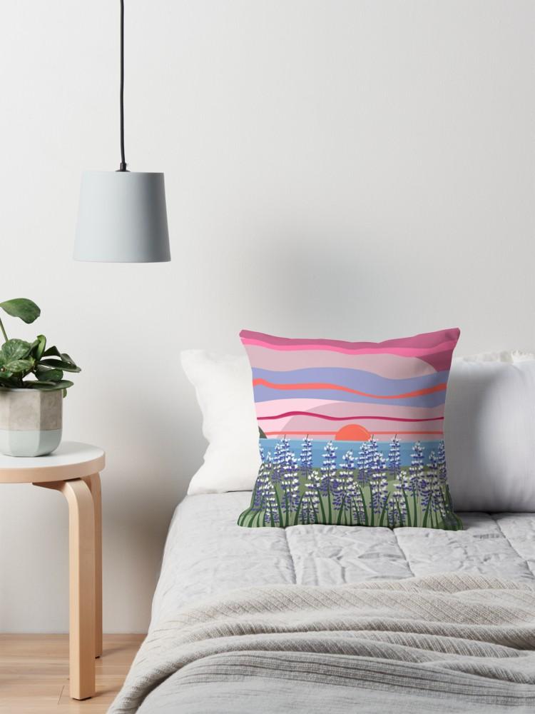 Reeds and Rising Sun Throw Pillow