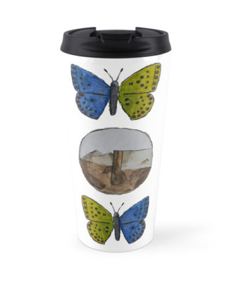 Three Badges Butterfly Logo Travel Mug