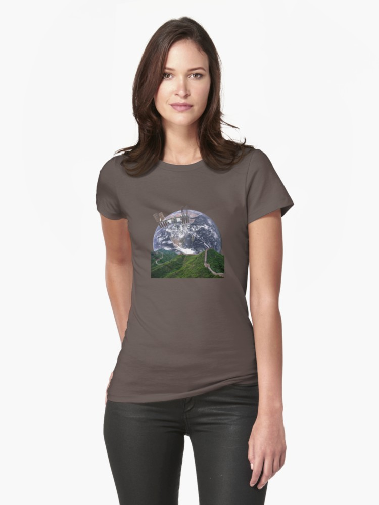 Parallax Great Wall from Space Dark Grey Fitted T-Shirt