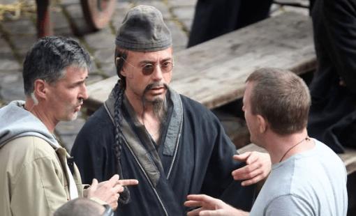 Robert Downey Jr on set in Greenwich