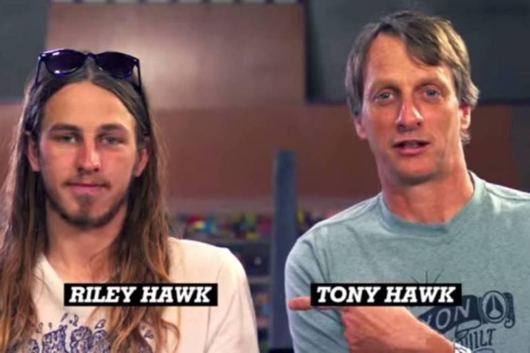 Riley Hawk and Tony Hawk