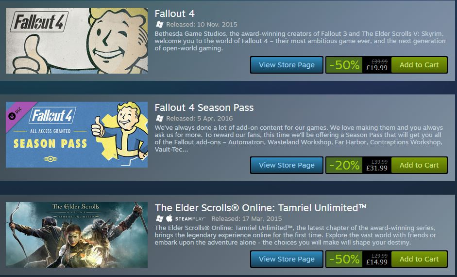 Fallout 4, Skyrim and DOOM Discounted in Bethesda Steam Sale for